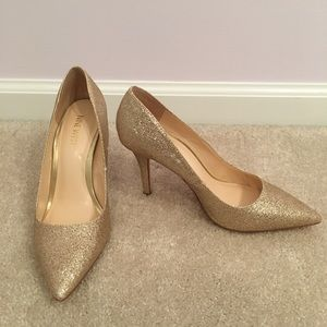 Nine West - glittery gold heels